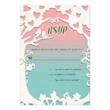 Love Birds Forever on Pastel Pink & Blue Personalized Invitation