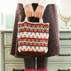 アフガン編みのノルディック風模様 ていねいに編みたい毛糸のトートバッグの会(6回限定コレクション) フェリシモ