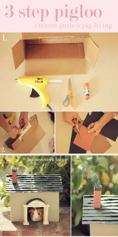 Build a guinea pig house in 3 steps. Looks so sweet but I'm sure ours would eat it!