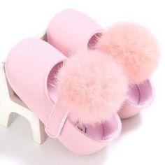 Toddler Baby Girl Hairball Pram Anti Slip Crib Shoes Moccasins