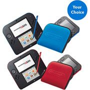 Nintendo 2DS Handheld, Crimson Red or Electric Blue, w/ Case
