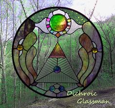 Dichroic Stained Glass Panel disc Fully Involved by DichroGlassman, $495.00