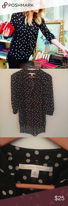 LC Lauren Conrad polka dot blouse Excellent condition.  Sheer polka dot blouse. Worn maybe 2-3 times at most.  Fits TTS. Measurements happily given upon request!  No trades. Reasonable offers welcome 🍾Note: 20% off bundles of 2+ items in my closet! LC Lauren Conrad Tops Blouses
