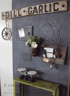 chalk board wall (even the light switch cover)....love everything about this!