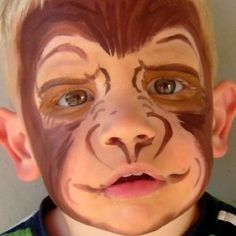 face painted Monkey by Kids Monkey Face Paint Animal Face Paintings, Animal Faces, Halloween Karneval, Halloween Kostüm, Monkey Makeup, Monkey Face Paint, Dog Face Paints, Animal Makeup, Theatrical Makeup