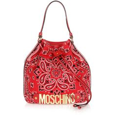 Moschino Printed Cotton Shoulder Bag featuring polyvore women's fashion bags handbags shoulder bags red red studded purse shoulder hand bags red shoulder handbags moschino cotton shoulder bag