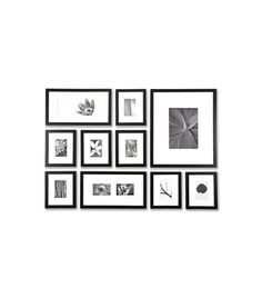 Picturewall is a wonderful option if you're looking to create a gallery-like arrangement of photos to display in matching frames of various sizes. Picturewall sells a variety of frame sets along with life-size printed templates in a variety of arrangements showing where each of the frames should be placed. Just hang the template, mark where the hooks for each frame should be placed, place hooks or nails, and hang. Kits include everything you need except a hammer and your photos.