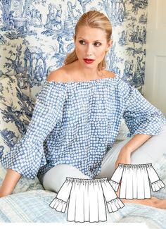Top Burda Feb 2017 http://www.burdastyle.com/pattern_store/patterns/off-the-shoulder-blouse-022017
