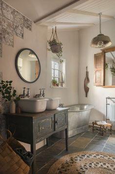 french Bathroom Decor Luxury cob cottage with hot tub near Porth Joke, north Cornwall Upstairs Bathrooms, Rustic Bathrooms, Dream Bathrooms, Beautiful Bathrooms, Small Bathroom, Luxury Bathrooms, Cottage Bathrooms, Bathroom Colors, Antique Bathroom Decor