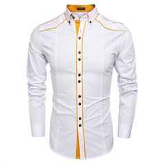 COOFANDY Men Fashion Turn Down Collar Long Sleeve Contrast Color Cotton Button Down Casual Shirts
