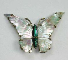 MOP Butterfly Brooch Gold Filled/Sterling Ocean by PastSplendors