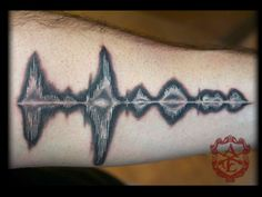 Inverted Sound Wave Tattoo done by Sean Ambrose at Arrows and Embers Custom Tattooing