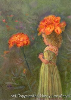 Purchase this print of Marigold, a Wee Pixie bobbing about the garden, directly from the artist online shop at nancyleemoran.com