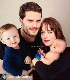CHRISTIAN, ANASTASIA, TEDDY, AND BABY PHOEBE GREYS