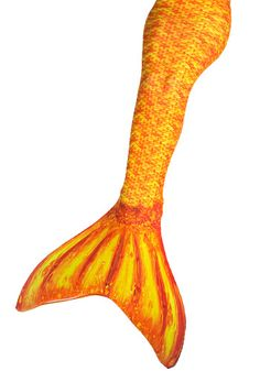 Absolutely stunning swim-able mermaid tail in Destiny's Tropical Sunrise. This intricate orange pattern makes a statement under the water and on the beach. Get your tail at FinFunMermaid.com #finfun #mermaids #mermaidtail