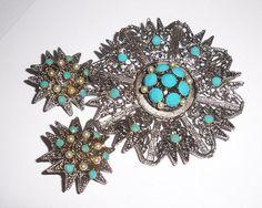 Vintage Hattie Carnegie Brooch and Earrings Set by Spanishtulip
