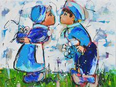 Dit is een: Schilderij titel: 'Oud Hollands' kunstwerk vervaardigd door: Liz