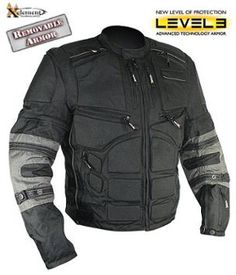 Xelement Men's Black and Gray Level-3 Armored Jacket with Removable Arm Sleeves and Tri-Tex Fabric