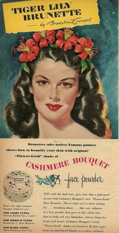 Vintage Cashmere Bouquet face powder ad My mother had this stuff, it smelled horrible~
