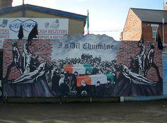 Hungerstreik Wandbild Belfast - IRA Gibraltar-Three mural by PPCC Antifa, via… Belfast Ireland, Ireland Map, Belfast Murals, Freedom Wall, Irish Independence, Irish Republican Army, Rebel Heart, Alternative Art, A Level Art