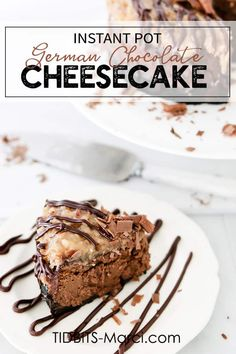 Instant Pot German Chocolate Cheesecake - to make Low-Carb use Swerve & Stevia to taste instead of sugar - is a rich, decadent, dreamy cheesecake made in an electric pressure cooker! So easy, pretty dessert that will wow a crowd. Instant Pot, German Chocolate Cheesecake, Coconut Pecan Frosting, Chocolate Wafer Cookies, How To Make Cheesecake, Cheesecake Desserts, Chocolate Shavings, Chocolate Ganache, Homemade Chocolate