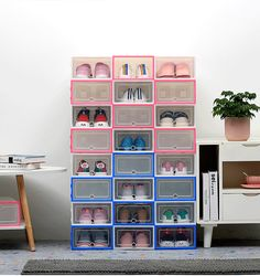 2019 New Thickened Drawer Type Shoe Box Shoe Storage Drawers, Storage Sets, Smart Storage, Storage Boxes, Shoe Storage Hacks, Diy Storage, Clear Plastic Shoe Boxes, Plastic Shoes, Modern Drawers