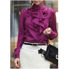 Beautiful! Love the color and ruffles of the shirt! Nice and classy!