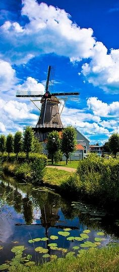The Salamander windmill on the Vliet canal in Leidschendam, South Holland, Netherlands #windmills #Holland #travel
