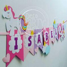 Banner para el cumple #12 de Isabella. #decopartybox #hechoamanohechoconamor Unicorn Birthday Parties, Birthday Party Decorations, Unicorn Banner, Diy And Crafts, Crafts For Kids, Little Pony Party, Happy Birthday Banners, Diy Party, First Birthdays
