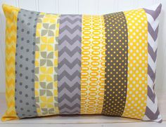 12 x 16 Inches - Gray and Yellow Chevron