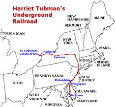 Harriet Tubman Underground Railroad Map | Harriet Tubman's Route for the UGRR