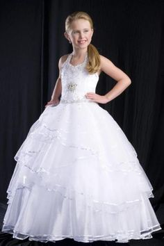 White Pageant Dress Girls' Formal Occasion Dress Halter NeckSequins Beading Zipper Back Ball Gown Organza Tiers Children Prom Dress