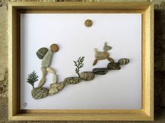 Pebble Art - Gift for Backpacker - Gift for Hiker - Animal Lover Gift - Hiker and dog - Custom Wall Art from France cm in) Pebble Art - Gift for Backpacker- Gift for Hiker - Animal Lover Gift - Pebble Art from France - Custom Pebble Art - cm Pebble Pictures, Stone Pictures, Hang Pictures, Nature Pictures, Stone Crafts, Rock Crafts, Art Rupestre, Art Pierre, Rock And Pebbles