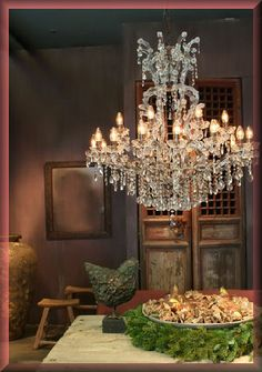 Vintage Home Decorating Ideas ~ Mix rustic with crystal.
