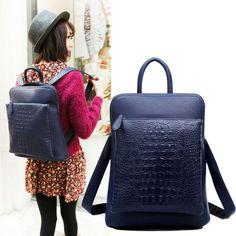 Nuevo 2014 Mujeres Mochilas diseñador de la marca de impresión mochila de senderismo Mochilas PU de las mujeres de cuero Negro Desigual Bolsa PB16 en Mochilas Casuales de Bolsos y Maletas en AliExpress.com | Alibaba Group
