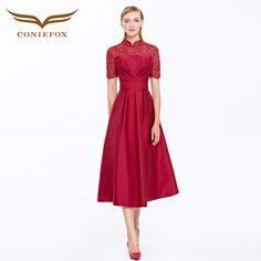 2016 CONIEFOX vestidos de festa vestido para casamento Red Cocktail Dresses cheongsam Elegant Cocktail Prom Dress Vestido 31398 - Coniefox