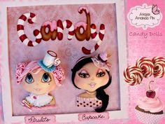 2 Muñecas caramelo + piruleta y magdalena + por Amanda Pin