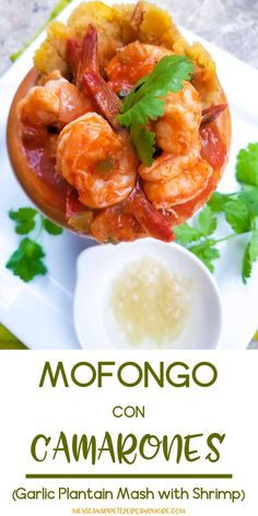 Mofongo con Camarones or Mofongo de Camarones (Mofongo with Shrimps) is a hyper delicious Puerto Rican dish made with a garlic plantain mash and served with shrimps in a salsa criolla sauce. One of the best dishes you will ever have! Puerto Rican Mofongo Recipe, Puerto Rican Recipes, Mexican Food Recipes, Dinner Recipes, Puerto Rican Salsa Recipe, Boricua Recipes, Comida Boricua, Puerto Rico, How To Cook Plantains