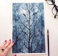 Birds in tree watercolour
