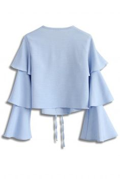 Tiered of Sweet Cropped Top in Blue - Tops - Retro, Indie and Unique Fashion