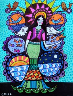 50% Off - Mermaid Print - Mermaid Tree of Life Poster Mexican Folk Art of Painting - Heather Galler (HG620)