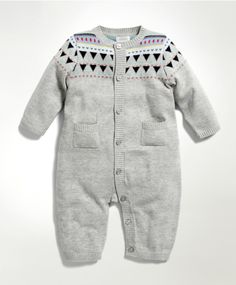 Unisex Grey Knitted Romper