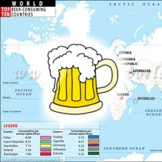 Who drinks the most #Beer in the World? Per Capita.  Post your answers in comments below OR check this map http://www.mapsofworld.com/world-top-ten/world-top-ten-beer-consumer-countries-map.html