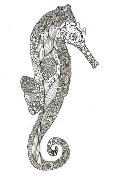 seahorse doodle design black ink line drawing by herland Henna Tattoo Hand, Hand Tattoos, Wolf Tattoos, Seahorse Drawing, Seahorse Tattoo, Seahorse Art, Crochet Baby Hats Free Pattern, Maori Art, Doodle Designs