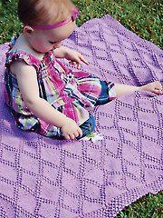 Sweet Lattice Baby Afghan Knit Pattern from www.AnniesCatalog.com.