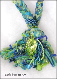Batik fabric, beads and a focal point crystal.  So easy to make!