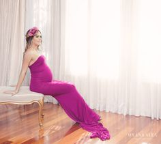 Fitted Jersey Maternity Gown With Added Train by IBCBoutique