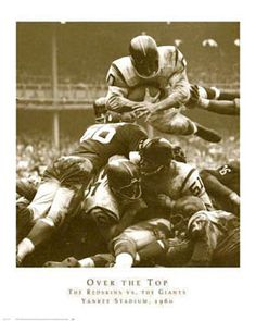 OVER THE TOP Redskins vs. Giants 1960 Poster Print - Vintage NFL Football Photography, Washington R