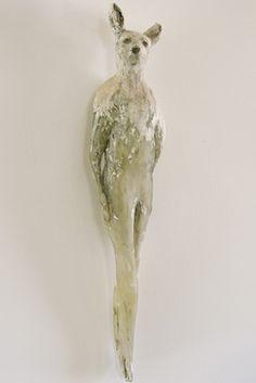 "Jane Rosen, ""Deer Girl,"" Glass, Sumi ink, and marble mix. 32 x 6 x 5 Ceramic Figures, Small Sculptures, Ceramic Animals, Magazine Art, Clay Art, Art Techniques, Installation Art, Lovers Art, Sculpture Art"