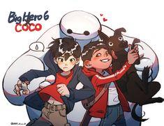 Loco — Big hero 6 X Coco please let hiro meets miguel. Cartoon As Anime, Cartoon Ships, Anime Manga, The Big Hero, Hiro Big Hero 6, Pixar Movies, Disney Movies, Disney Characters, Disney Crossovers